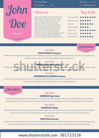 Modern Resume Cv Curriculum Vitae Template With Pink Ribbon  Resume Or Curriculum Vitae