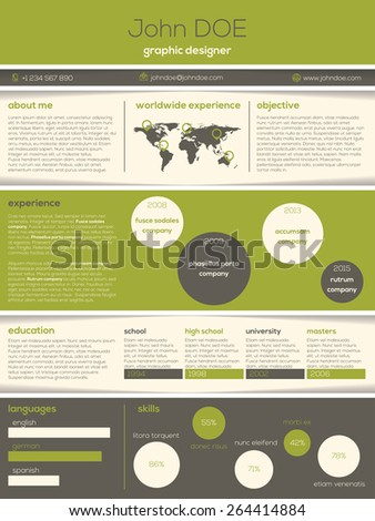 Modern resume cv design with cool graphic and text elements - stock vector