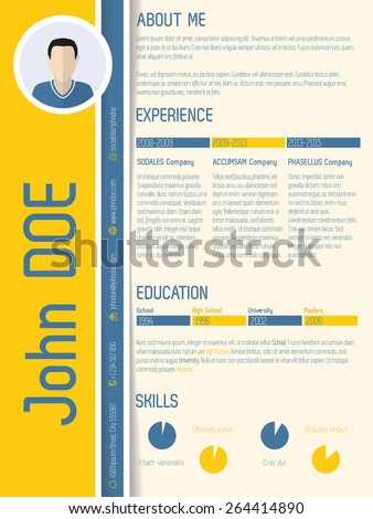 Modern resume cv with shadow design and light colors - stock vector