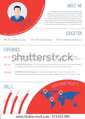 Modern resume design with graphic elements and photo - stock vector