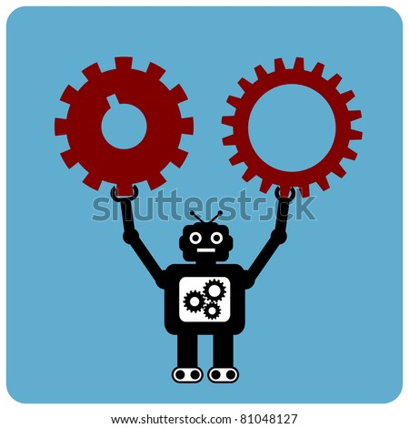 Modern robot with red gears - stock vector
