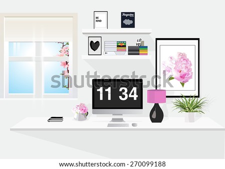 Modern room - stock vector