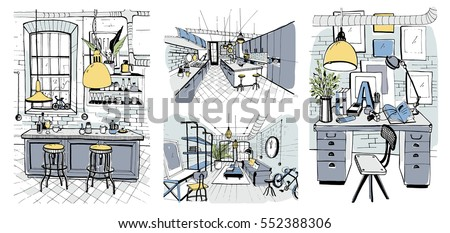 Modern room interiors in loft style. Set of hand drawn colorful illustration.
