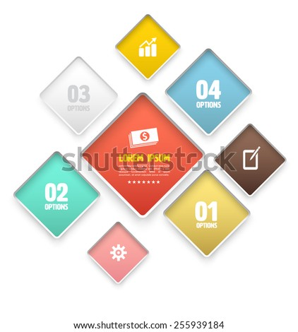 Modern round rectangle soft color Design template. Vector illustration. can be used for infographics element, numbered banners, graphic or website layout vector, business concept. - stock vector
