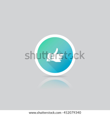 Modern Round Thumbs Up Icon - stock vector