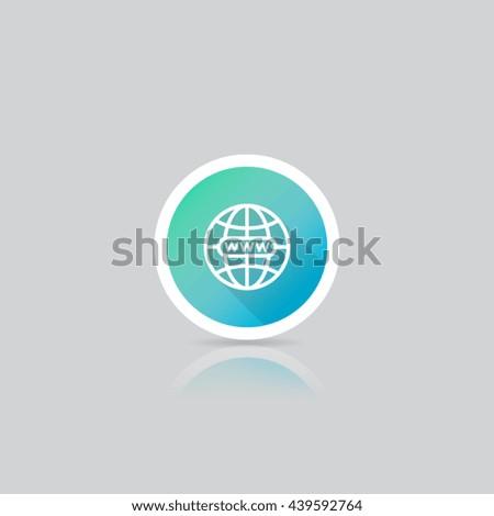 Modern Round World Wide Web Icon - stock vector