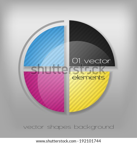 Modern rounded layout. CMYK colors as color target. - stock vector