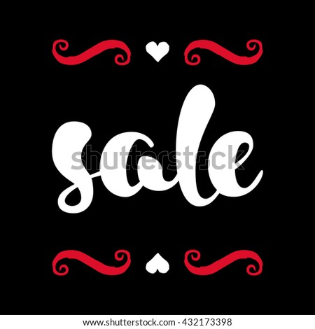 Modern SALE poster. Discount banner in red, black and white. Hand written lettering. The word SALE with swashes. Calligraphy design element. Sale background. Vector illustration. - stock vector