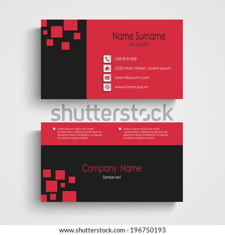 Modern Sample Business Card Template Stock Vector - Sample business card template