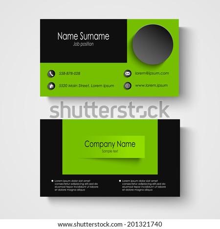 Modern Sample Green Business Card Template Stock Photo (Photo ...