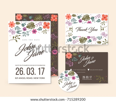 Vetor stock de modern save date floral wedding invitation livre de modern save the date floral wedding invitation card template illustration set rsvp pin and stopboris Images