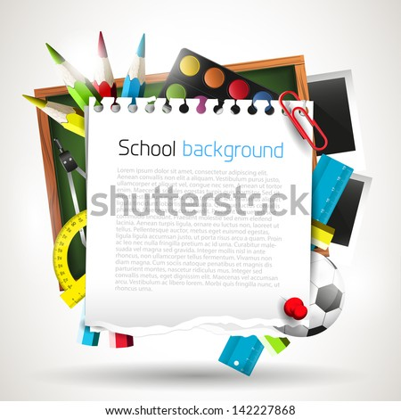 Modern school background with place for your text  - stock vector