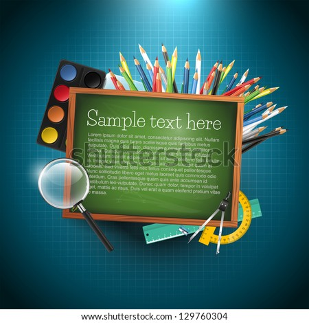 Modern school vector background with copyspace - stock vector