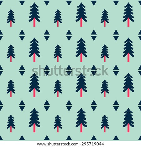 Modern seamless pattern made of trees and diamonds in vector. Stylish forest concept background in modern colors. Flat design - stock vector