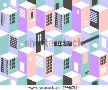 Modern seamless pattern with city buildings. Vector cityscape. - stock vector