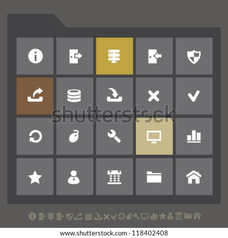 Modern server icons for mobile devices and contemporary interfaces - stock vector