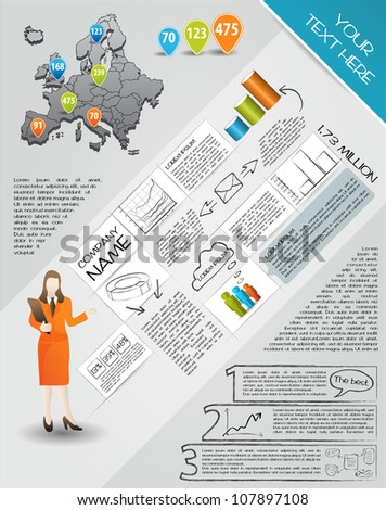 Modern set elements of infographics.  Map of Europe and Information Graphics - stock vector