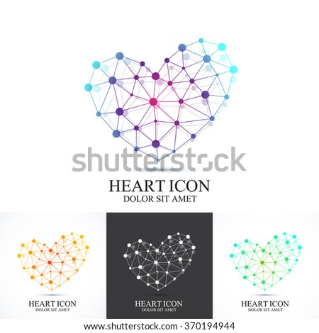Modern set icon heart. Heart logo. Vector template for medicine, science, technology , chemistry, biotechnology.
