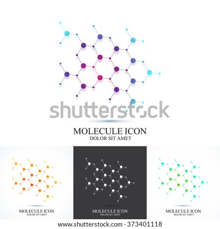 Modern set logotype icon dna and molecule. Vector template for medicine, science, technology , chemistry