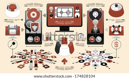 modern set of elements - stock vector