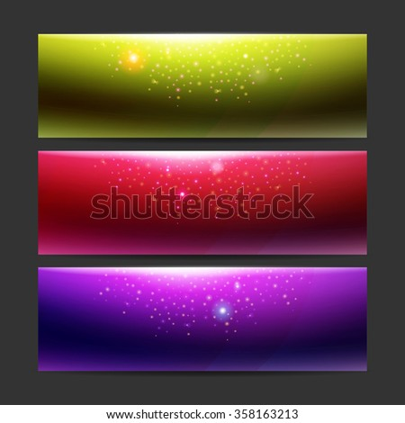 Modern set of vector banners with night lights. Party design template. Stylish digital background collection. Header style energy template. Tech design presentation. Energy lights at techno backdrop.