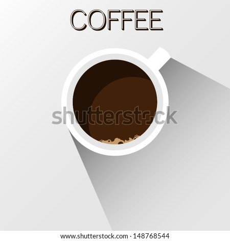 modern shadowed coffee cup - stock vector