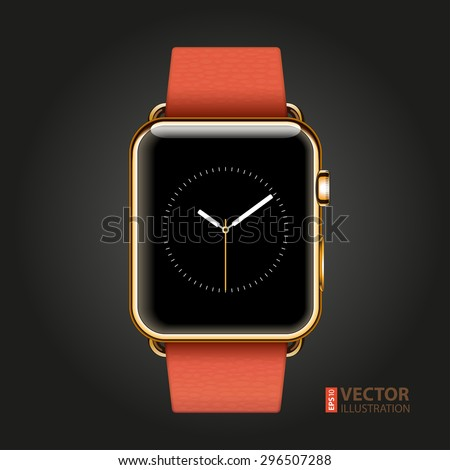 Modern shiny 18-karat yellow gold smart watches with red modern buckle bracelet isolated on black background. RGB EPS 10 vector illustration - stock vector