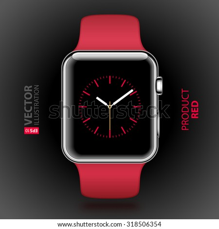 Modern shiny smart watch with red sport band and red digital dial on screen isolated on black background. RGB EPS 10 vector illustration - stock vector