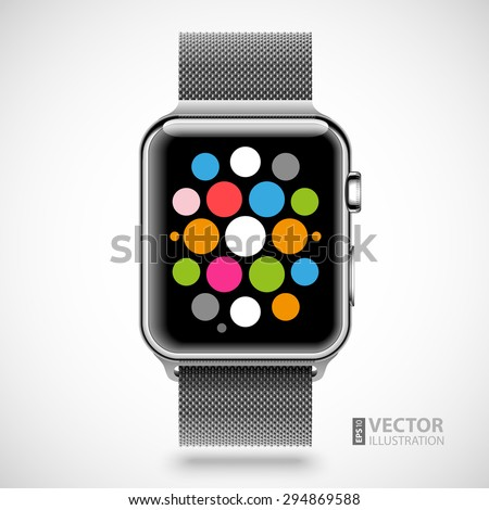 Modern shiny smart watch with steel chain bracelet and applications icons on dial screen isolated on white background. RGB EPS 10 vector illustration - stock vector