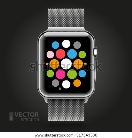 Modern shiny smart watch with steel chain bracelet and applications icons on dial screen isolated on black background. RGB EPS 10 vector illustration - stock vector