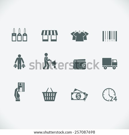 Modern shopping icon. Retail and shopping cart, shipment and price tag. Vector illustration - stock vector
