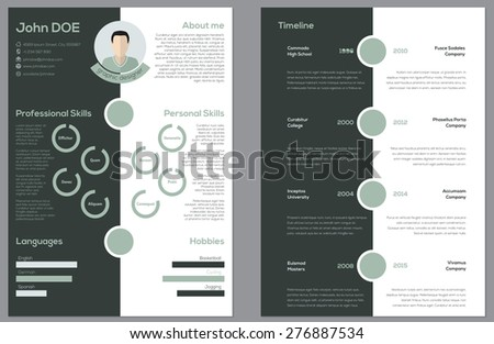 Modern 2 sided cv resume curriculum vitae design - stock vector