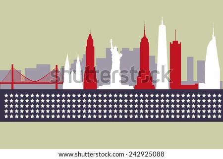 Modern silhouette skyline of New York. - stock vector