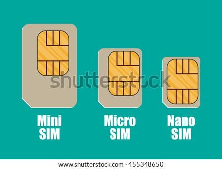 Modern sim card sizes, mini, micro, nano. Vector illustration in flat style on green background - stock vector