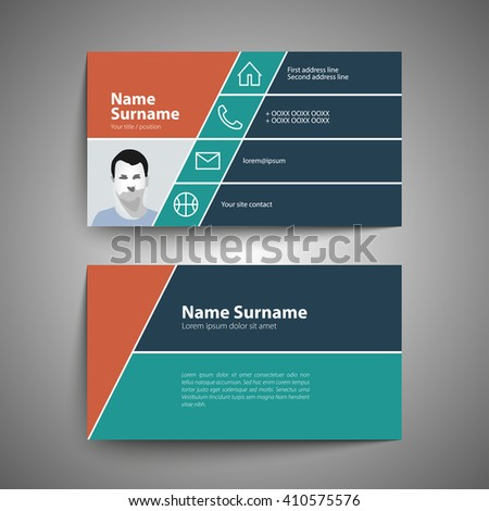 Modern simple business card set template stock vector 410575576 modern simple business card set template or visiting card vector illustration reheart Gallery