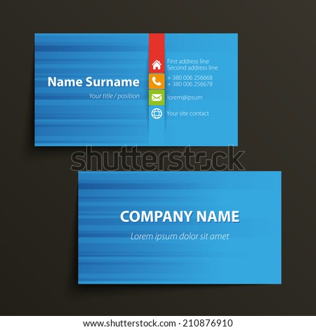 Modern simple business card template vector stock vector 210876910 modern simple business card template vector format reheart Gallery