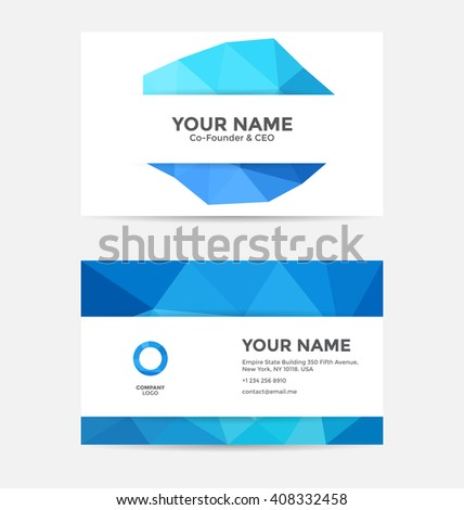 Modern simple business card template with geometric polygon design elements - stock vector