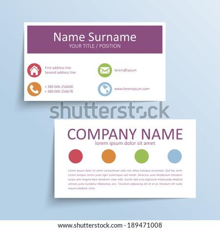 Modern simple business card vector template. - stock vector