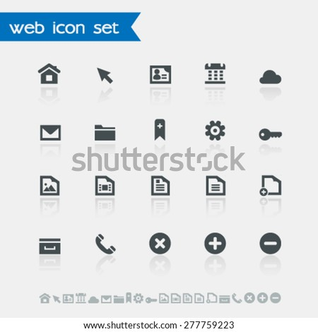 Modern simple flat design web icons with reflection