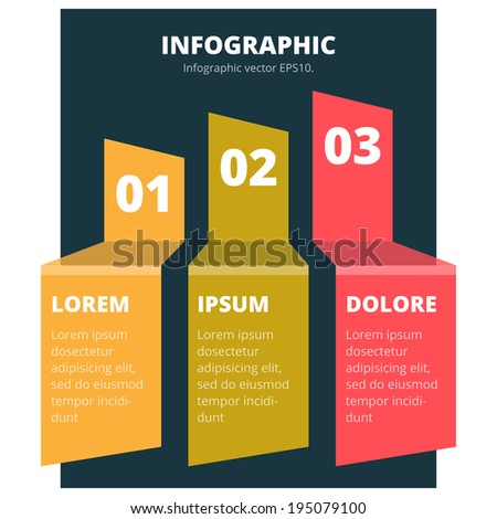 Modern simple Infographic vector template. Can be used for workflow layout, diagram, number options, step up options, web design. EPS 10 vector illustration.  - stock vector