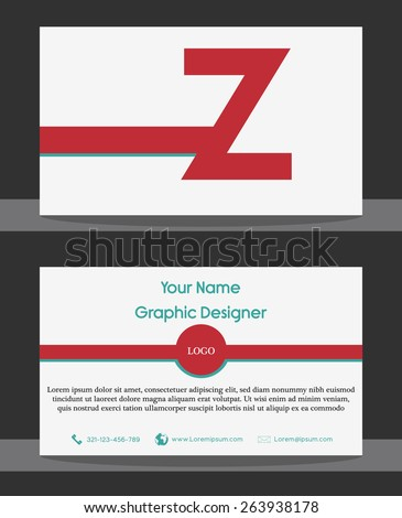 Modern Simple Red White Business Card - Z - stock vector