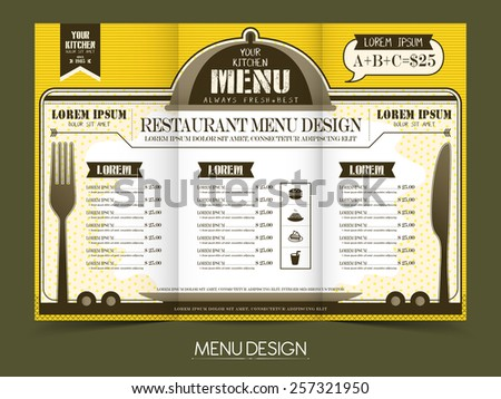modern simplicity restaurant menu design in yellow and white - stock vector