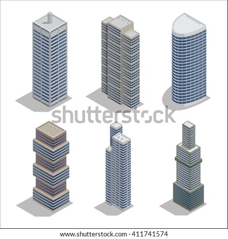 Modern Skyscrapers. Isometric Building. Construction Industry. Vector illustration