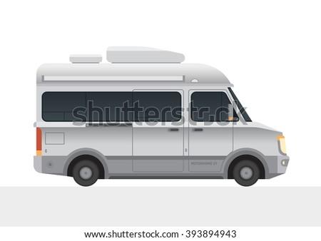 modern small size camper van motor home camping rv travel family caravan truck new