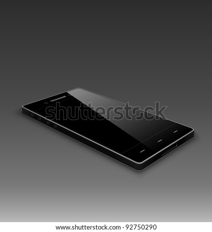 Modern smart phone. Black version. 3D. - stock vector
