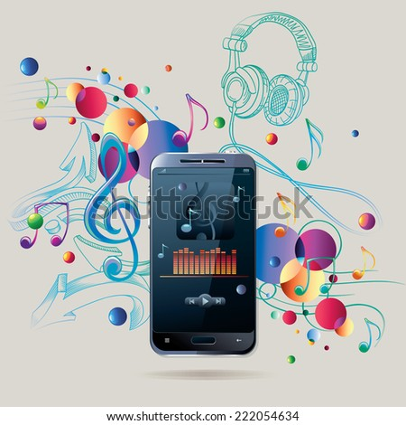 Modern smart phone on musical background - stock vector