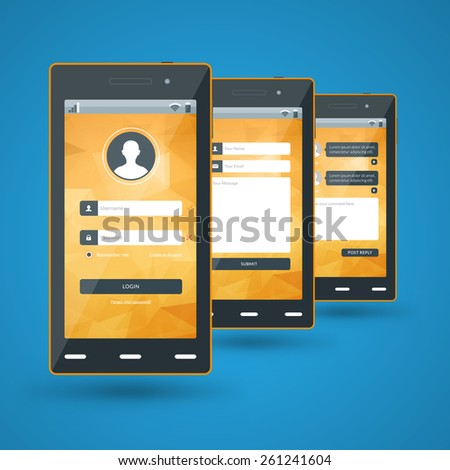 Modern smartphone. Flat design template for mobile apps - stock vector