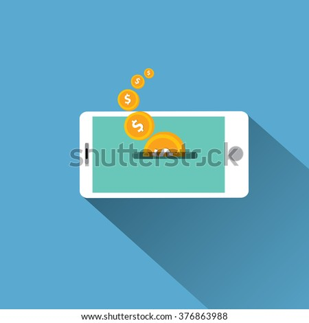 modern smartphone mobile payments. Internet banking concept. wireless money transfer. - stock vector