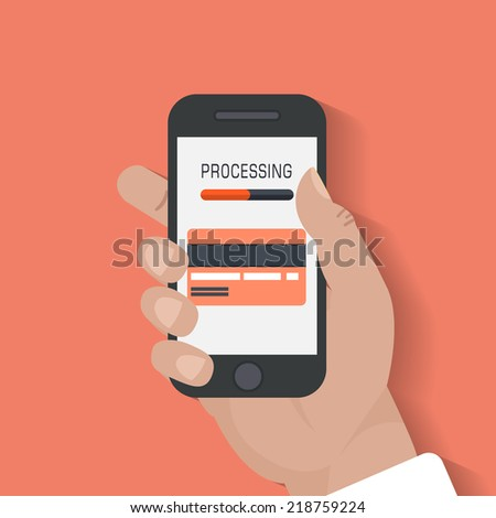 Modern smartphone with processing of mobile payments from credit card on the screen. Near field communication technology concept. Isolated on red background. Flat design style vector illustration. - stock vector