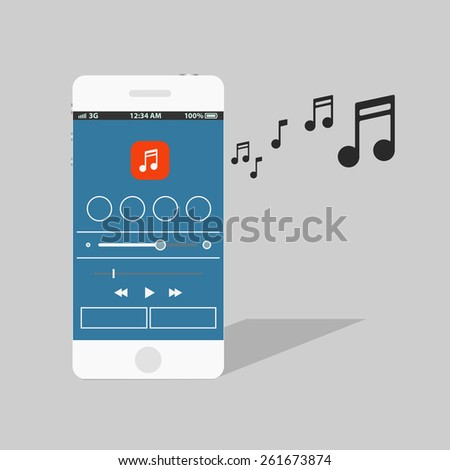 Modern smartphone with the music player - stock vector
